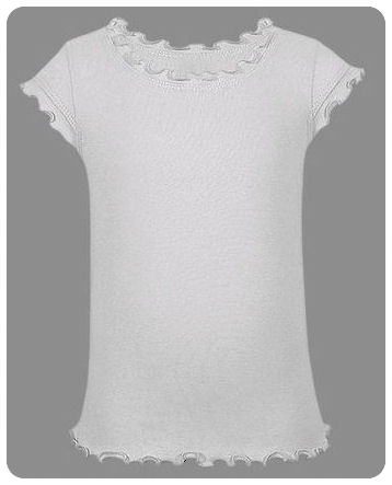 Size 7-8 / Small White Girls Single Ruffle Short Sleeve Tee