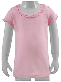 6M Baby Pink Ruffled Neck Short Sleeved Tee