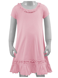 6M Baby Pink Ruffled Neck Short Sleeved Dress
