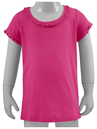 6M Hot Pink Ruffled Neck Short Sleeved Tee