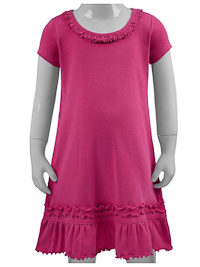 Size 3 Hot Pink Ruffled Neck Short Sleeved Dress