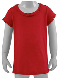 6M Red Ruffled Neck Short Sleeved Tee