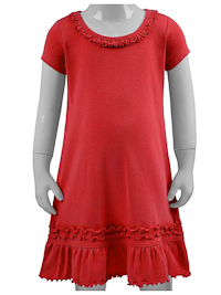 Size 3 Red Ruffled Neck Short Sleeved Dress