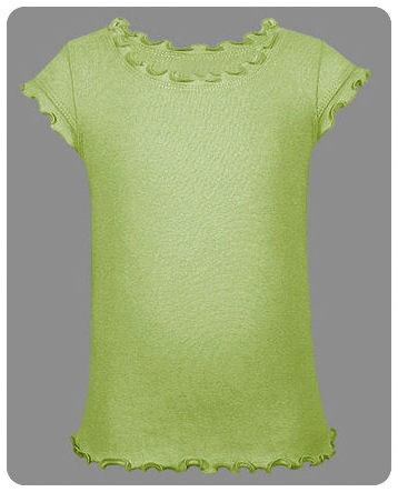 Size 12-14 / Large Lime Girls Single Ruffle Short Sleeve Tee