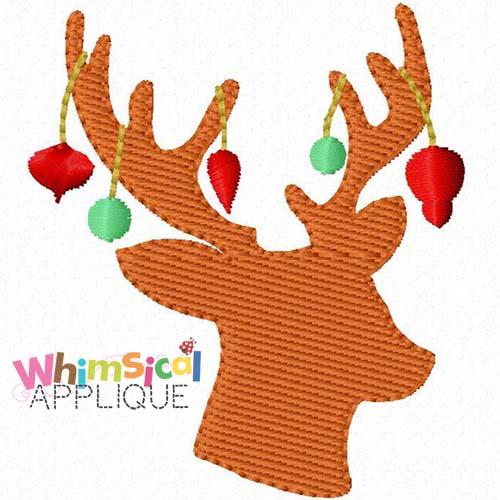 Christmas Reindeer Silhouette.Christmas Reindeer Silhouette Mini Fill Whimsical Applique