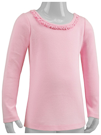 6M Baby Pink Ruffled Neck Long Sleeve Tee