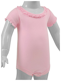 24M Baby Pink Ruffled Neck Short Sleeve Bodysuit