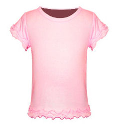Size 3 Baby Pink Girls Triple Ruffled Short Sleeved Tee