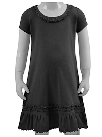 Size 6X Black Ruffled Neck Short Sleeved Dress