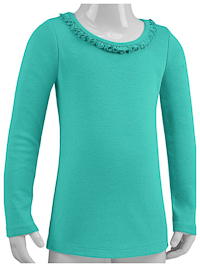 3T Caribbean Blue Ruffled Neck Long Sleeve Tee