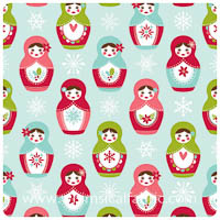 Merry Matryoshka - Blue Main - Fat Quarter