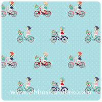 Vintage Market - Aqua Bike Ride - Fat Quarter