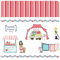 Vintage Market - Red Border - Yardage