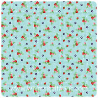 Vintage Market - Aqua Strawberries - Fat Quarter