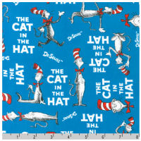 Cat In The Hat - Book Cover in Turquoise - Fat Quarter