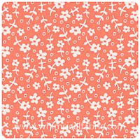 Children At Play - Wallpaper Flowers in Coral - Fat Quarter