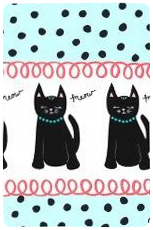 Cool Cats - Aqua Cats and Dots Border - Yardage