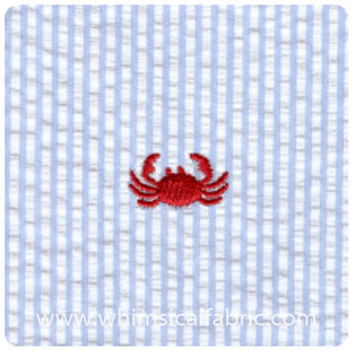 Crabs on Blue - Embroidered Seersucker - Yardage