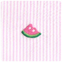 Watermelon on Pink - Embroidered Seersucker - Yardage