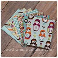 Little Matryoshka Aqua 7 pc Fat Quarter Bundle