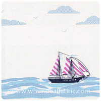 Out to Sea - Sail Away in Bloom - Border Print Yardage