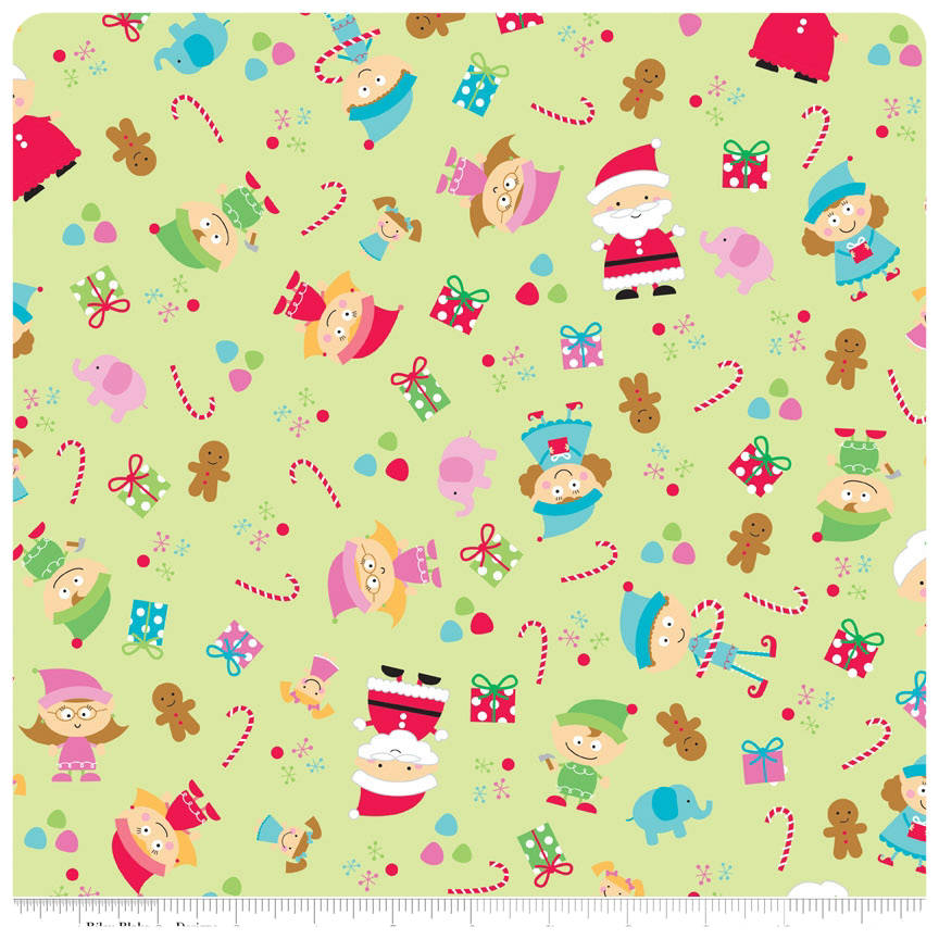 Santa's Workshop - Green Main FLANNEL - Yardage