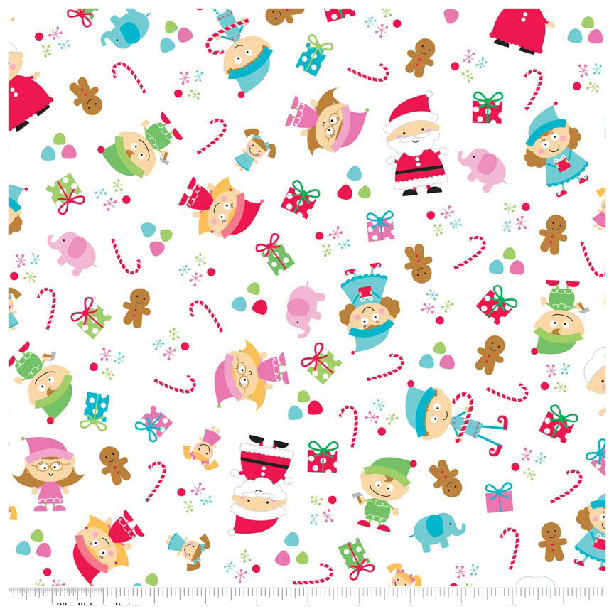 Santa's Workshop - White Main FLANNEL - Yardage