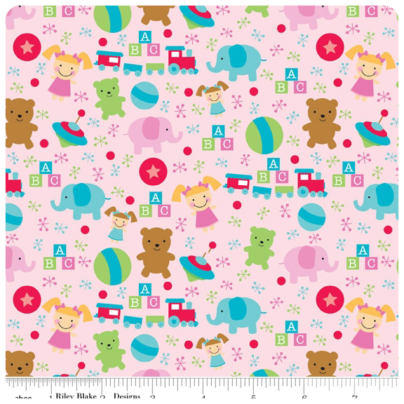 Santa's Workshop - Pink Toys FLANNEL - Yardage