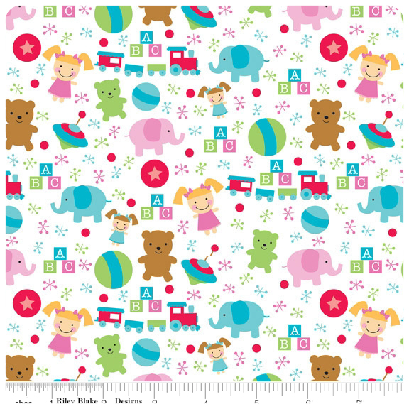 Santa's Workshop - White Toys FLANNEL - Yardage