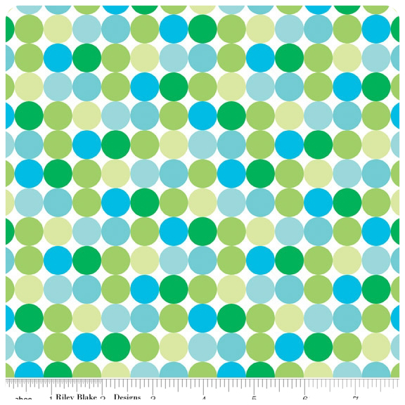 Santa's Workshop - Green Dots FLANNEL - Yardage