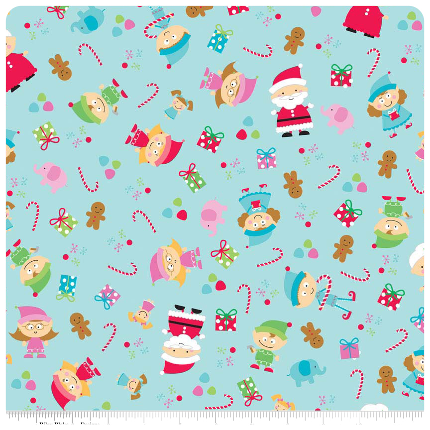 Santa's Workshop - Blue Main FLANNEL - Yardage