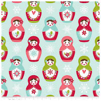 Merry Matryoshka - FLANNEL - Blue Main - Yardage