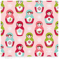 Merry Matryoshka - FLANNEL - Pink Main - Yardage