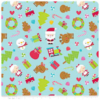 Santa Express - FLANNEL - Blue Main - Yardage