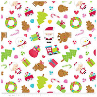 Santa Express - FLANNEL - White Main - Yardage