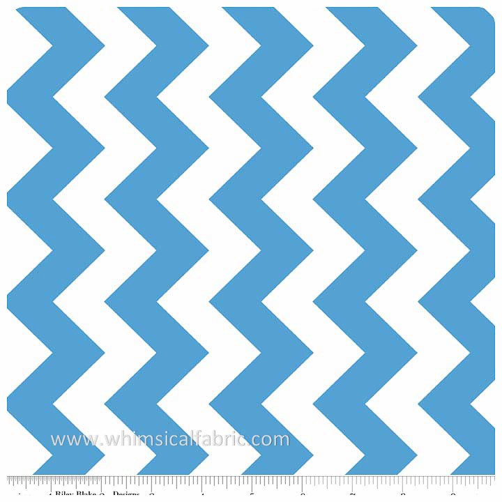 "Medium Blue 58"" Wide Medium Chevron by Riley Blake - Yardage"