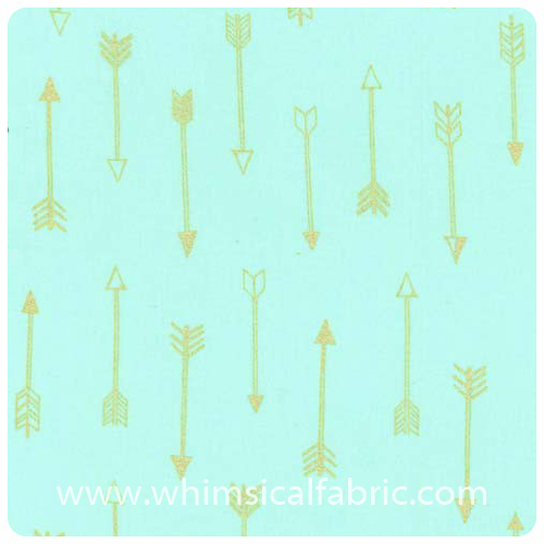 Arrow Flight - Arrows Seafoam Metallic - Fat Quarter