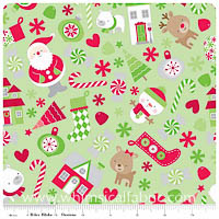 KNIT - Holiday Things on Green - Christmas Basics - Yardage
