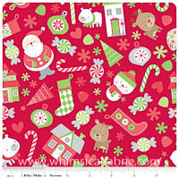 KNIT - Holiday Things on Red - Christmas Basics - Yardage