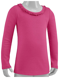 6M Hot Pink Ruffled Neck Long Sleeve Tee