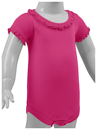 24M Hot Pink Ruffled Neck Short Sleeve Bodysuit