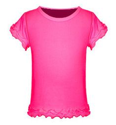 Size 6X Hot Pink Girls Triple Ruffled Short Sleeved Tee