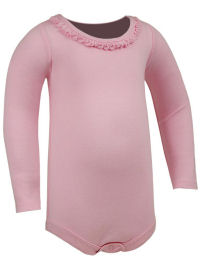 6M Baby Pink Ruffled Neck Long Sleeve Bodysuit