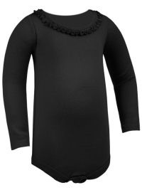 12M Black Ruffled Neck Long Sleeve Bodysuit