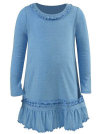 4T Azure Ruffled Neck LS Dress - Cotton/Poly