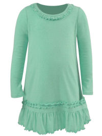 3T Ice Green Ruffled Neck LS Dress - Cotton/Poly