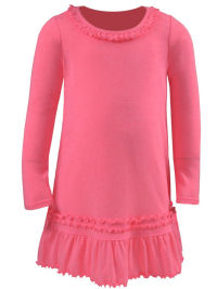 3T Pink Flash Ruffled Neck LS Dress - Cotton/Poly