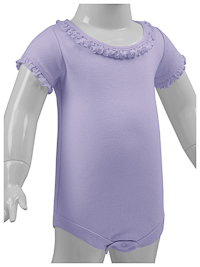 24M Lavender Ruffled Neck Short Sleeve Bodysuit