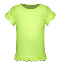Size 6X Lime Girls Triple Ruffled Short Sleeved Tee