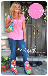 Mod Girl Embellished Jeans and Purse PDF Pattern - Pink Fig